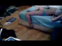 my cute perverted sister masturbates on bed.