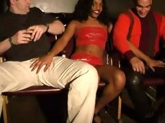 latin babe with white guys..